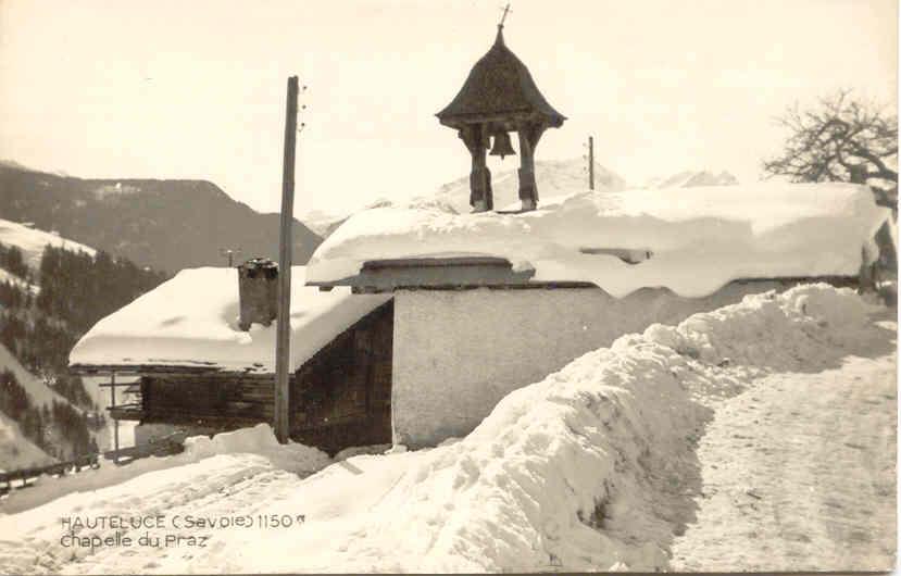 Hauteluce chapelle Praz sous la neige