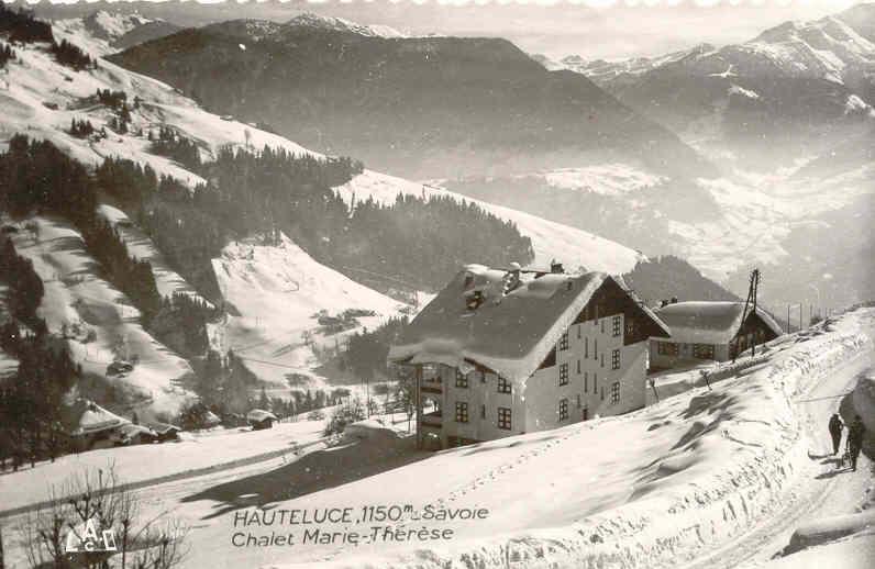 Chalet Marie Therese en hiver (Le Tavaillon en contrebas)